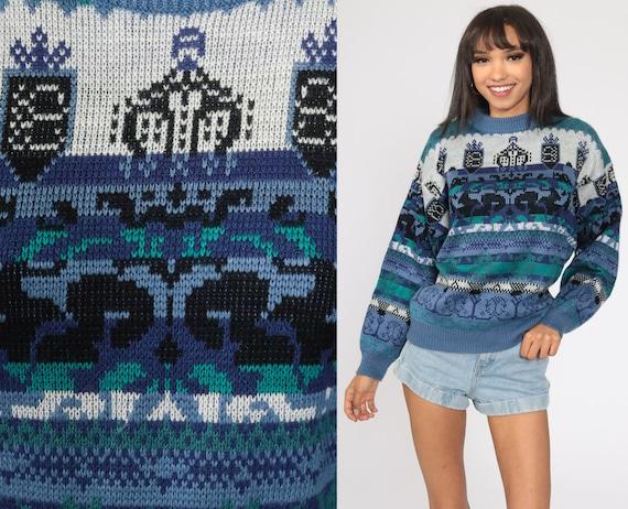 80s Geometric Sweater Blue Print Knit Jumper 90s Statement Sweater Vintage Pullover Retro Acrylic Crewneck Medium