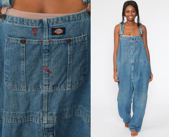 Dickies Overalls 50 -- 90s Denim Bib Overalls Baggy Dungarees Long Jean Pants Utility Pants Work Wear Carpenter 1990s Extra Large 2xl