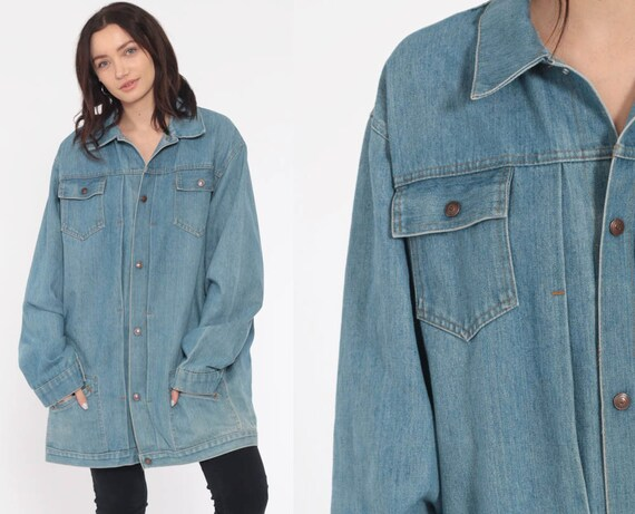Oversize Denim Jacket 70s Jean Jacket Boho Blue Biker Normcore Grunge Vintage Oversized Bohemian 1970s Hipster Button Up Extra Large xl l