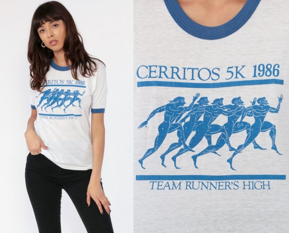 Runner's High Shirt -- 1986 Ringer Tee Shirt 80s Running Cerritos 5K Marathon Paper Thin Burnout Vintage T Shirt Graphic 1980s Small Medium
