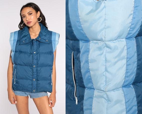 Ski Puffer Vest 70s Blue Vest Down Vest Striped Puffy Sleeveless Jacket Winter Color Block Vintage 1970s Extra Large xl l