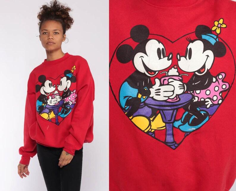 e1c6209573b Walt Disney Sweater Minnie Mouse Sweatshirt 90s Streetwear Shirt Diner  Cartoon Graphic Print 90s Vintage Hipster Kawaii Red Retro Medium
