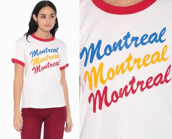 Vintage Montreal Shirt Ringer Tee Quebec Graphic Tee 80s Retro Tshirt Champion Tourist Tshirt Vintage Retro T Shirt 1980s Medium