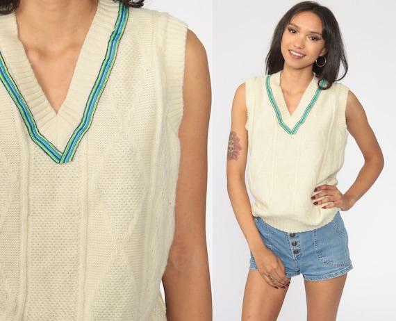 Sleeveless Knitted Tank Top Boho Style Shirt Or Sweater Orange Cream Sweater Vest