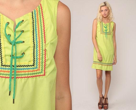 Mod Mini Dress 60s Shift CORSET Lace Up 70s Boho Gogo Lime Green Vintage Twiggy Bohemian Festival Go go Sleeveless MiniDress Medium