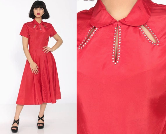 1940s Red Dress 40s Gown Party RHINESTONE Keyhole WWII Evening 50s Peter Pan Collar Formal Midi Tea Length Vintage 1950s Extra Small xs