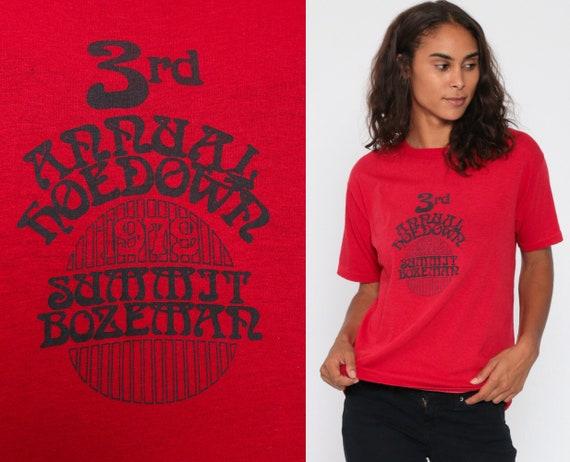 1979 Summit Bozeman Shirt 3rd ANNUAL HOEDOWN Montana Retro TShirt Graphic Shirt 70s Hippie Vintage T Shirt Retro Tee 1970s Red Small Medium