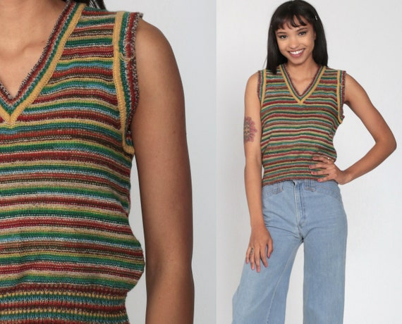 70s Sweater Vest Top Striped Tank Top Knit Shirt Retro Sleeveless Sweater V Neck Nerd Geek Blue Red Green Vintage Small