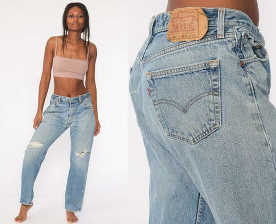 Ripped Levis Jeans 90s BUTTON FLY Mid Rise Waist Jeans 90s Boyfriend Relaxed Baggy Levi DISTRESSED 80s Denim Pants 501 Vintage Large 34 x 29