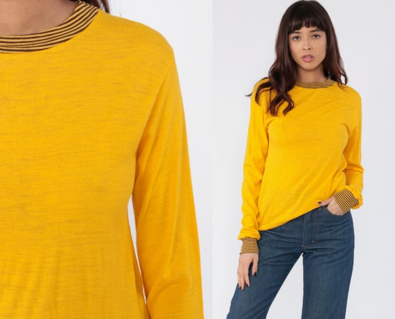 Yellow Ringer Tee Shirt 80s STRIPED Brown TShirt Long Sleeve Shirt Plain Top Hipster 1980s Retro Tee Vintage Normcore Small