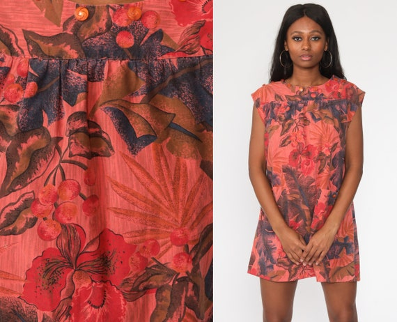 Hawaiian Tent Dress 80s Tropical Dress Orange Mini Floral Leaf Print Short Sleeve Summer Festival Hippie Bohemian Vintage Large