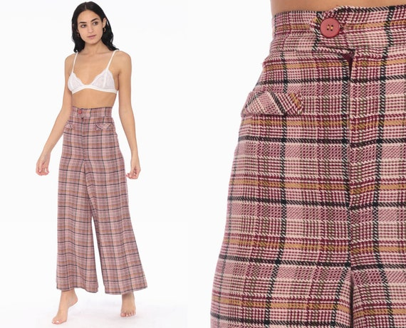 70s Plaid High Waisted Bell Bottoms Trousers Plaid Pants Hippie Tartan High Waisted Flared  1970s Checkered Print extra small xs 2xs