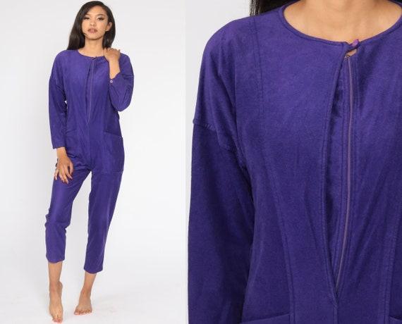 Velour Jumpsuit 80s Jumpsuit TAPERED Pants Purple Pantsuit Vintage Long sleeve Romper Pants Small S