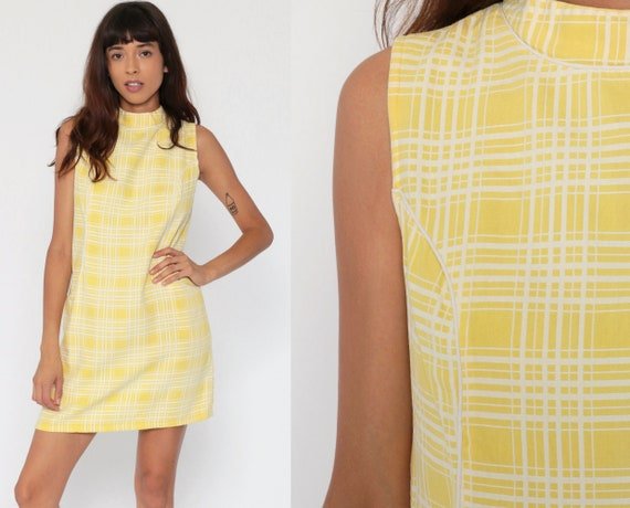 60s Mod Dress Carol Brent Yellow Checkered Print Mini Pocket 1960s Shift Vintage Twiggy Sleeveless Sixties Gogo Minidress Medium