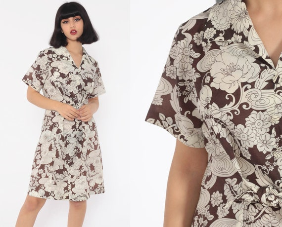 Floral Mini Dress 70s Mini Dress Hippie Shift Short Sleeve Day Belted White Brown Mod Boho Vintage Bohemian Medium Large