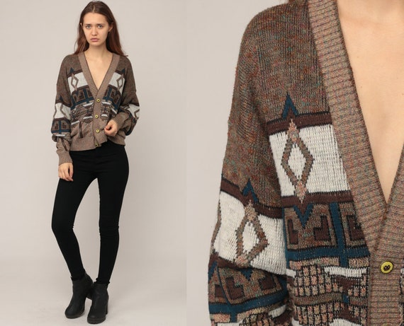 80s Cardigan Sweater Abstract Geometric Boho Sweater Tribal Brown Grunge Boho Button Up 1980s Preppy Grandpa Bohemian Vintage Medium Large