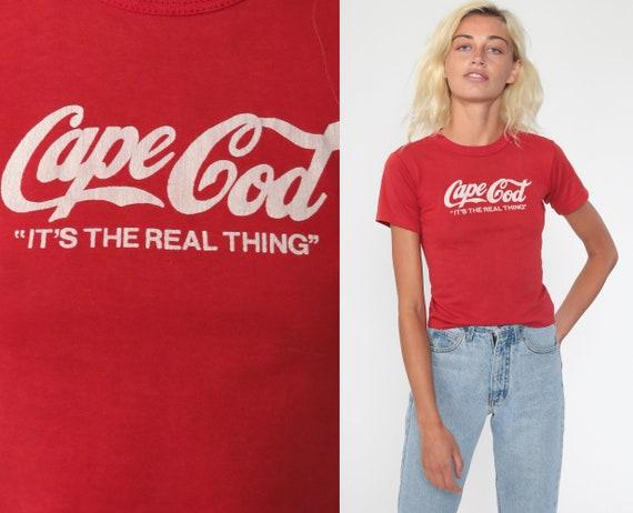 Cape Cod Shirt Coca Cola Shirt 80s Tee Single Stitch Shirt Coke Logo Red Massachusetts 1980s Graphic T shirt Vintage Tshirt Extra Small xs