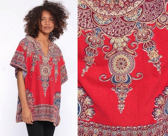 70s Dashiki Tunic Top -- Bell Sleeve Blouse 1970s Boho Hippie African Shirt Bohemian Vintage Cotton Red Small Medium