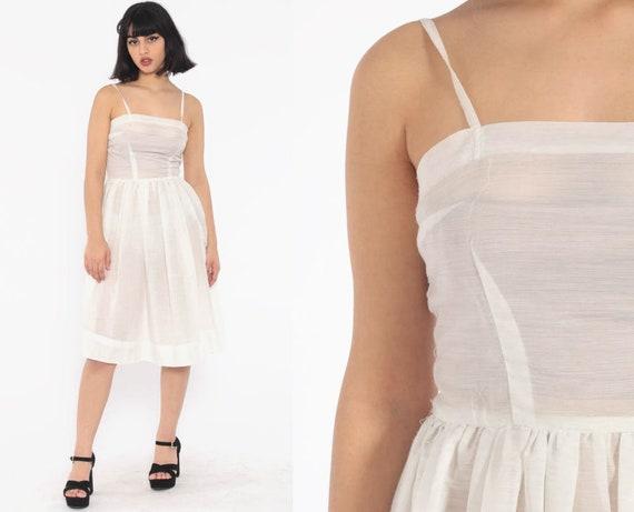 Sheer White Sun Dress 1960s Spaghetti Strap Dress Party High Waist 60s Day Tea Length Sun Dress Pin Up Vintage Full Skirt Extra Small xs