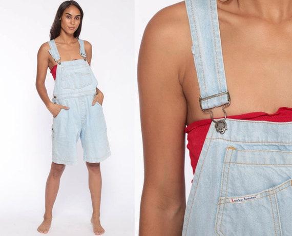 Denim Overall Shorts 90s Jean Shorts Bib Shortalls Cargo Overalls Grunge Suspender Light Blue Woman 1990s Vintage medium