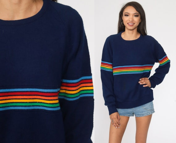 Rainbow Sweater 80s Navy Blue Striped Knit Jumper Pullover Ski Slouchy 70s Boho Slouch Vintage Retro Raglan Sleeve Bohemian Medium Large