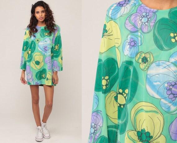 Floral Blouse 60s Mod Floral Print 70s Hippie Blouse Boho Shirt Micro Mini Dress Tunic Wide Sleeve Vintage Bohemian Green Large