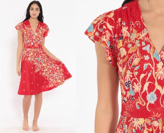 Red Floral Wrap Dress 70s Boho Chic Midi Flutter Sleeve 1970s Deep V Neck Bohemian Vintage High Waist Retro Disco Hippie Extra Small xs s
