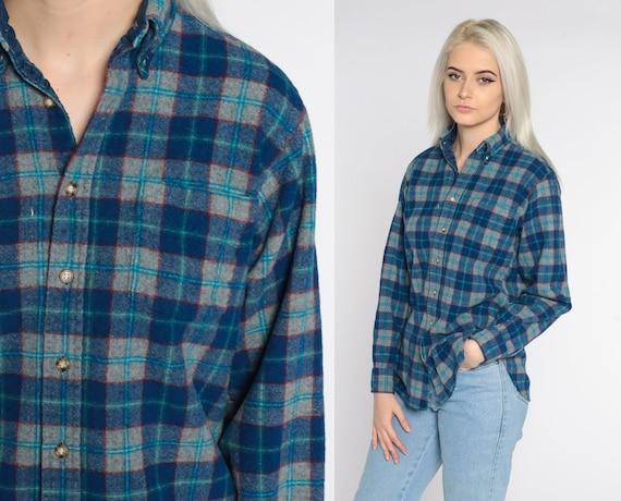 Pendleton Lodge Shirt Plaid Wool Shirt 80s Flannel Blue Green Plaid Shirt 1980s Lumberjack Button Up Long Sleeve Vintage Tartan Medium Long