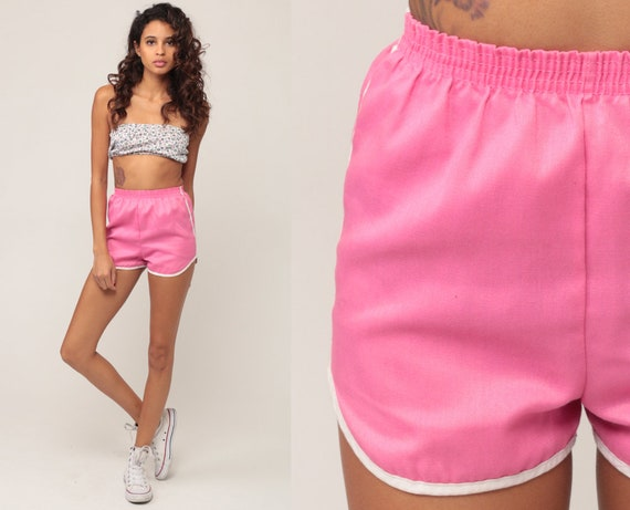 Pink Shorts 80s Shorts Jogging Shorts Running High Waisted Retro Vintage Joggers Elastic Waist Hipster Extra Small xs xxs 00 0