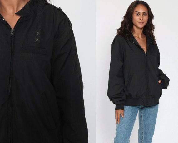 Black Bomber Jacket 80s Windbreaker Cafe Racer Moto Epaulette Coat Members Only Style Vintage 1980s Lightweight Extra Large xl xxl