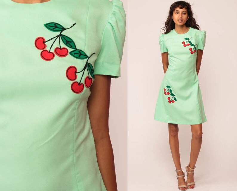 eb91db23b7078 60s Mini Dress CHERRY Shift Hippie Mod Puff Sleeve 70s Boho   Etsy