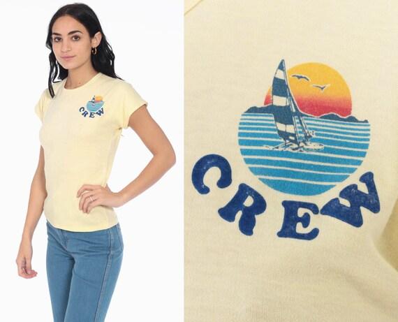 Sailboat Crew Shirt Sailor Nautical Tshirt 70s Top Boho Top Yellow Girly Bohemian Hippie Shirt Baby Tee Tshirt Vintage 1970s Beach Small