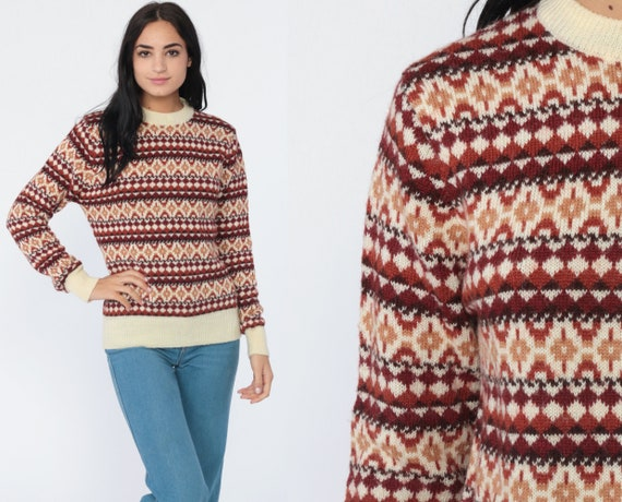 Fair Isle Sweater 80s Nordic Slouchy Knit Grunge Striped Brown 1980s Retro Boho Pullover Sweater Jumper Small Medium