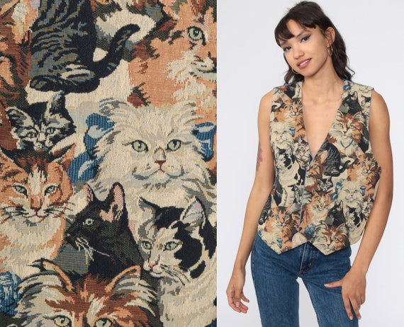 Cat Tapestry Vest Shabby Chic Vest 1990s Open Fron