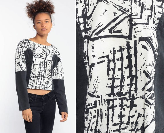 Black Tribal Tshirt Geometric Shirt 90s Bodycon Top 1990s Tee Surfer Retro Long Sleeve Abstract Print Medium