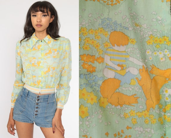 Squirrel Crop Top 70s Novelty Print Shirt Hippie Boho Top Animal Blouse Green Long sleeve Shirt 1970s Shirt Retro Vintage Small S
