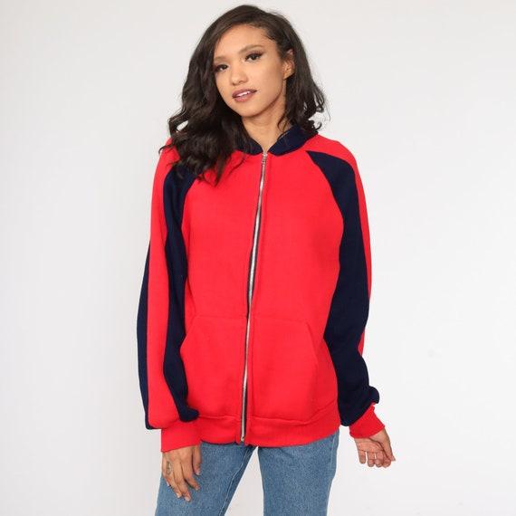 Hoodie Sweatshirt Red Zip Up Sweatshirt 80s Hoode… - image 2
