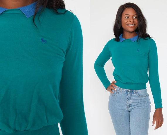 Collared Teal Sweatshirt 2xs Horse Sweatshirt 80s Sweatshirt Green 90s Sweatshirt Vintage Slouchy Basic 1980s Extra Small xxs