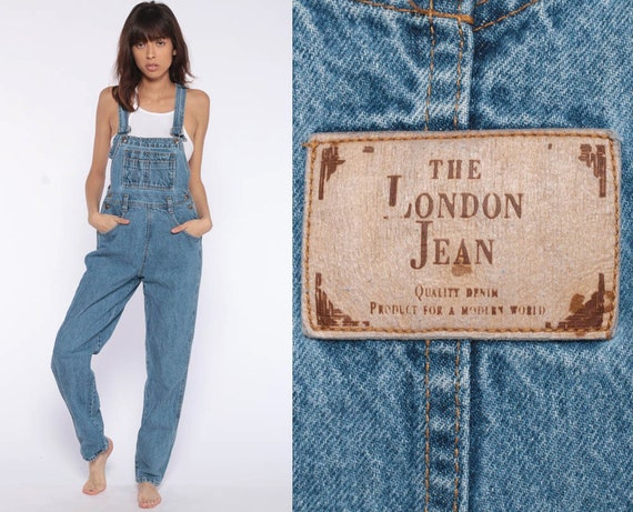 Denim Overalls Women 90s GRUNGE Suspender London Jean Pants Long Jean 1990s Tapered Leg Jeans Normcore Vintage Jumpsuit Extra Small xs
