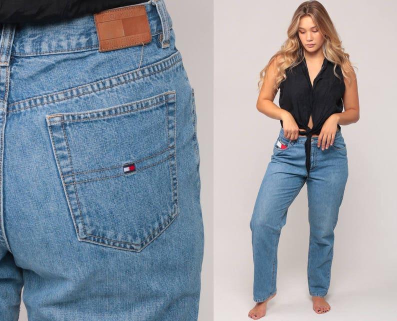 52c06b7c Tommy Jeans Mom Jeans TOMMY HILFIGER Jeans Flag Denim Pants   Etsy