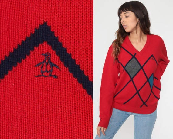 Munsingwear Sweater 80s Penguin Sweater Red Checkered Slouchy V Neck Pullover Geometric Vintage 1980s Preppy Small Medium