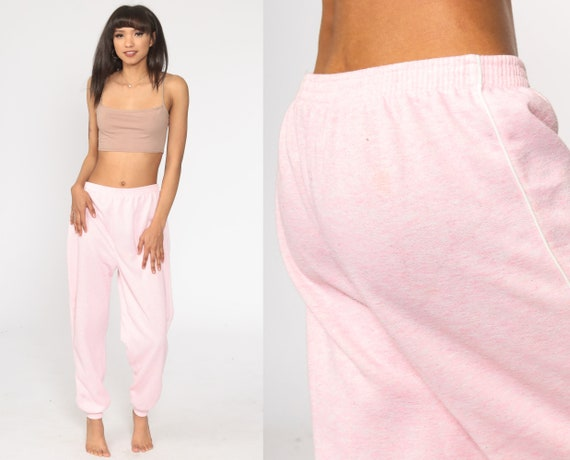 Pink Sweatpants Baby Pink Track Pants 80s Old School Jogging Track Suit Gym Running 1980s Sports Vintage Retro Warm Up Gitano Large