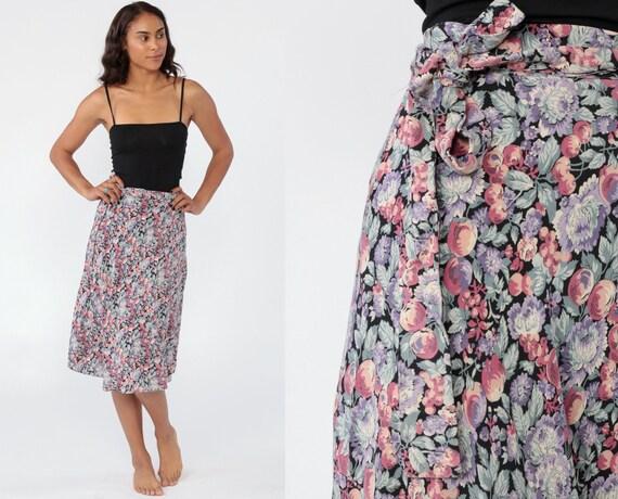 Floral Wrap Skirt Midi Wrap Skirt 90s Grunge Boho Flower Skirt 1990s Knee Length Festival Bohemian Purple Pink Extra Small xs s