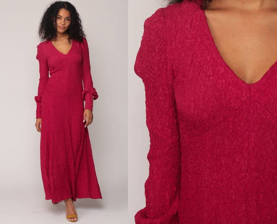 Long Boho Dress Magenta Dress 70s Empire Waist Maxi Deep V Neck Party Raspberry Pink 1970s Vintage Bohemian Long Sleeve Gown Small