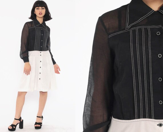 60s Mod Dress Black White SCOOTER Space Age 70s Low Waist Midi Sheer Button Up Pleated Shift GOGO Vintage Long Sleeve Twiggy Small
