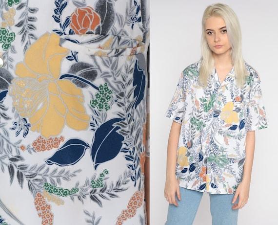 70s Floral Shirt Men's Dagger Collar Boho Disco Shirt Button Up Flower Bohemian 1970s Hippie Vintage Short Sleeve White Medium Large