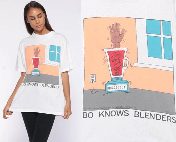 BO Jackson Shirt Joke Bo Knows Blenders 90s T Shirt -- NFL MLB White Unisex Baseball Football Novelty Tee Spoof Shirt Small Medium