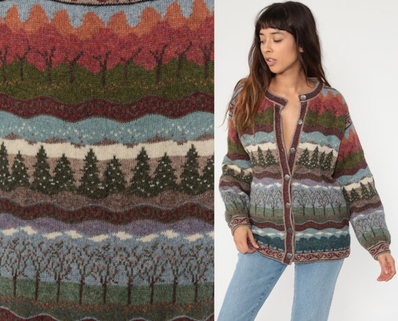 Wool Cardigan Sweater 90s Tree Sweater Icelandic Designs Nordic Sweater Grandma Boho Button Up Vintage Retro Small