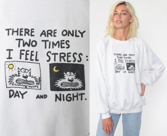 Stressed Cat Sweatshirt Shoebox Greetings Shirt Joke Shirt 90s Slouch Cartoon Pullover Vintage Hallmark Graphic Jumper Medium Large