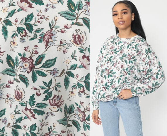 Graphic Floral Sweatshirt All Over Print 80s Sweatshirt Flower Print 90s White Green Vintage Large